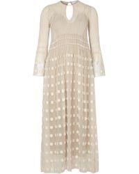Mame - Stone Shirred Fil Coupé Midi Dress - Lyst