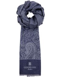 Corneliani - Dark Blue Reversible Wool Scarf - Lyst