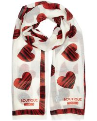 Boutique Moschino | Ecru Heart-print Wool Scarf | Lyst
