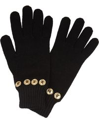 Boutique Moschino - Black Button-embellished Wool Blend Gloves - Lyst