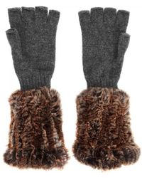 Hockley - Domina Fur And Cashmere Fingerless Gloves - Lyst