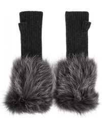 Hockley - Frida Fur-trimmed Cashmere Fingerless Mittens - Lyst