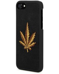 Palm Angels - Leaf-print Leather And Canvas Iphone 7 Case - Lyst