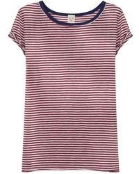 Free People - Claire Striped Cotton-blend T-shirt - Lyst