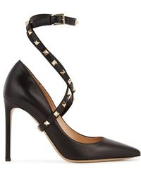 Valentino - Rockstud 105 Black Leather Court Shoes - Lyst