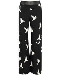 Stine Goya - Chandler Dove-print Wide-leg Trousers - Lyst