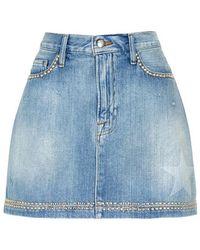 FRAME - Le Mini Stud-embellished Denim Skirt - Lyst