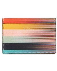 Paul Smith - Mixed-stripe Leather Credit Card Holder - Lyst