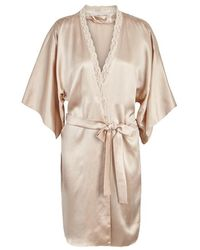 Stella McCartney - Clara Whispering Lace-trimmed Silk Robe - Size L - Lyst