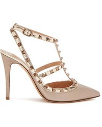 925f57d7dbca Valentino Rockstud 100 Rose Gold Leather Pumps in Pink - Lyst