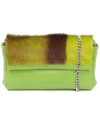 Sherene Melinda Lime Sophy Springbok Leather Clutch Bag With A Stripe - Green