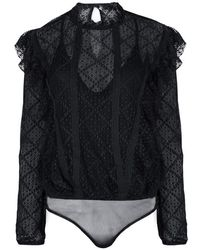 Free People - Goldie Midnight Blue Lace Bodysuit - Lyst
