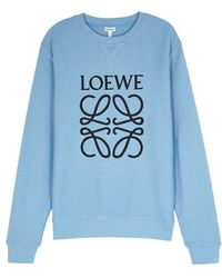 Loewe - Blue Logo-embroidered Cotton Sweatshirt - Lyst