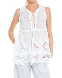 Leon Max - Embroidered Cotton & Silk Voile Shell - Lyst
