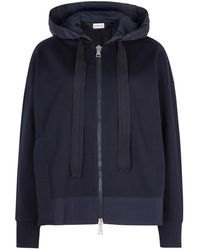 Moncler - Navy Hooded Jersey Sweatshirt - Lyst