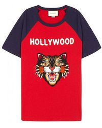 Gucci - Hollywood Embroidered Cotton T-shirt - Lyst