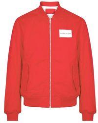 Calvin Klein - Red Logo-print Twill Bomber Jacket - Lyst