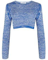Christopher Esber - Blue Mélange Cropped Stretch-knit Top - Lyst