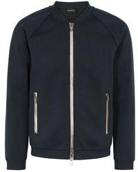 Emporio Armani - Zipped Stretch Jersey Sweatshirt - Lyst