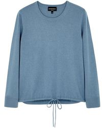 Emporio Armani - Blue Drawstring Cashmere Jumper - Lyst