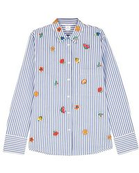 Paul Smith - Striped Floral-embroidered Poplin Shirt - Lyst