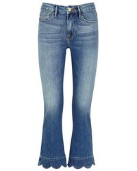FRAME - Le Crop Mini Boot Scalloped Jeans - Lyst