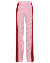 Stella McCartney - Dana Monogrammed Wide-leg Silk Trousers - Lyst
