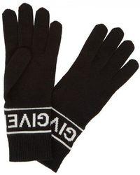 Givenchy - Black Logo Wool Gloves - Lyst