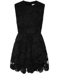b300ab1086 RED Valentino Lace-trimmed Cady Playsuit in Black - Lyst