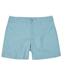 Officine Generale - Geometric-print Swim Shorts - Lyst