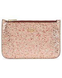 COACH - Rose Glittered Leather Card Holder - Lyst