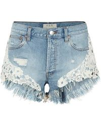 Free People - Good Vibes Lace-trimmed Denim Shorts - Lyst