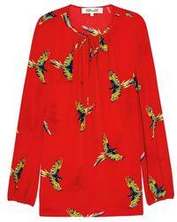 Diane von Furstenberg - Silk Bird-print Long-sleeve Blouse - Lyst