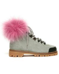 Mr & Mrs Italy - Fur Pedule Suede Leather Shadow Fox Fur - Lyst
