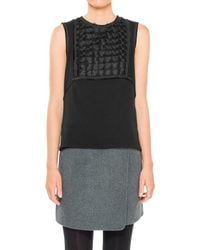 Leon Max - Embroidered Viscose Twill Sleeveless Shell - Lyst