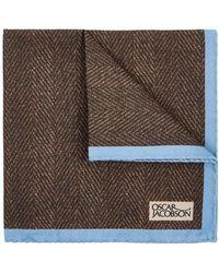 Oscar Jacobson - Brown Printed Cotton Blend Pocket Square - Lyst