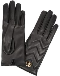 Gucci - Gg Marmont Leather Gloves - Lyst