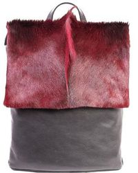 Sherene Melinda - Burgundy Leather Backpack With A Fan - Lyst