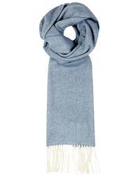 Oscar Jacobson - Blue Herringbone Wool Scarf - Lyst