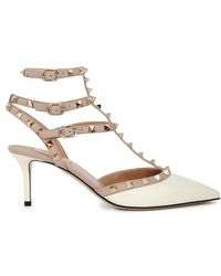 37d770e23cd Valentino  rockstud  Caged Lace-up Leather Pumps in White - Lyst