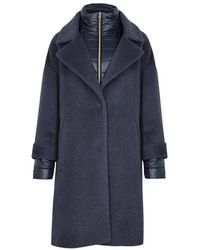 Herno - Blue Shell-trimmed Wool-blend Coat - Lyst