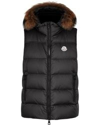 Moncler - Youri Charcoal Fur-trimmed Shell Gilet - Lyst