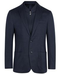 Corneliani - Navy Cotton Blend Blazer - Lyst