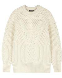 Alexander McQueen - Ivory Chunky-knit Wool Jumper - Lyst