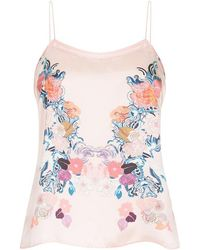 Meng - Pink Floral Silk Satin Camisole - Lyst