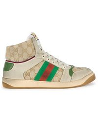 bfda9547d Gucci Ronnie Black Leather Hi-top Trainers in Red for Men - Lyst