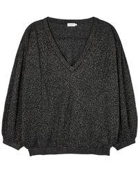 Filippa K - Black Metallic-weave Knitted Jumper - Lyst