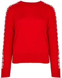 Jonathan Simkhai - Red Ring-embellished Wool Jumper - Lyst
