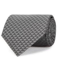 Emporio Armani - Grey Logo-jacquard Silk Tie - Lyst