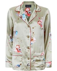 Meng - Gold Floral Silk Satin Shirt - Lyst